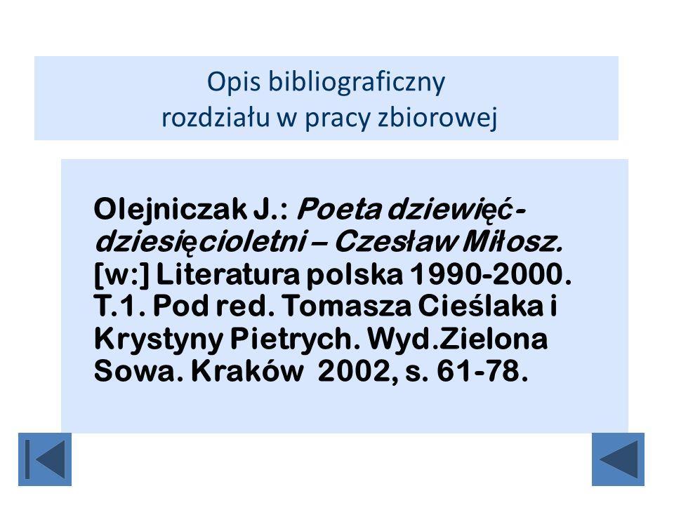 Opis bibliograficzny rozdziału w pracy zbiorowej