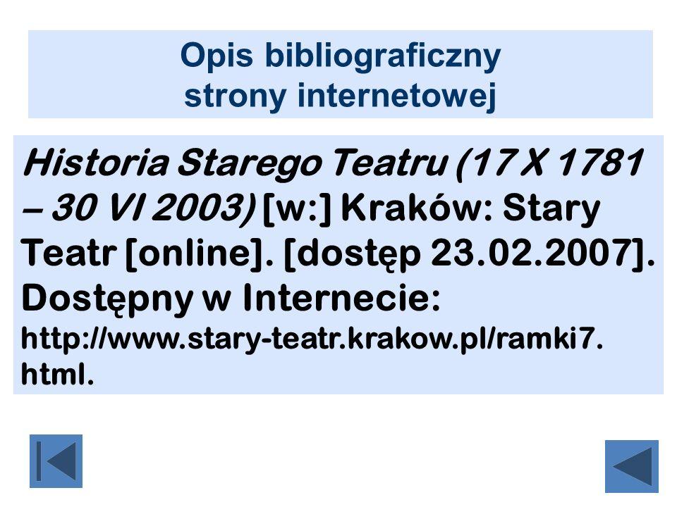 Opis bibliograficzny strony internetowej