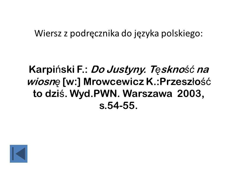Wiersz z podręcznika do języka polskiego: Karpiński F. : Do Justyny