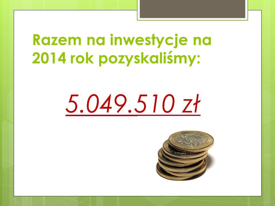 Razem na inwestycje na 2014 rok pozyskaliśmy: