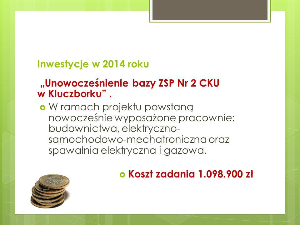 """Inwestycje w 2014 roku """"Unowocześnienie bazy ZSP Nr 2 CKU w Kluczborku ."""
