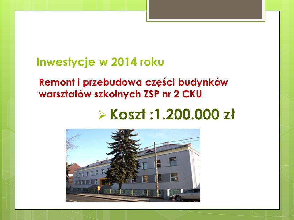 Koszt :1.200.000 zł Inwestycje w 2014 roku