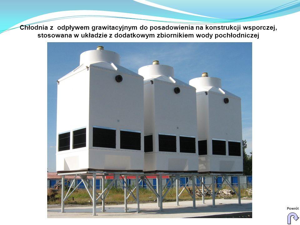 Chłodnia z odpływem grawitacyjnym do posadowienia na konstrukcji wsporczej, stosowana w układzie z dodatkowym zbiornikiem wody pochłodniczej