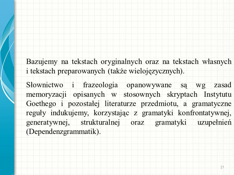 Bazujemy na tekstach oryginalnych oraz na tekstach własnych i tekstach preparowanych (także wielojęzycznych).