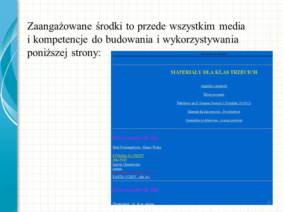 Zaangażowane środki to przede wszystkim media i kompetencje do budowania i wykorzystywania poniższej strony: