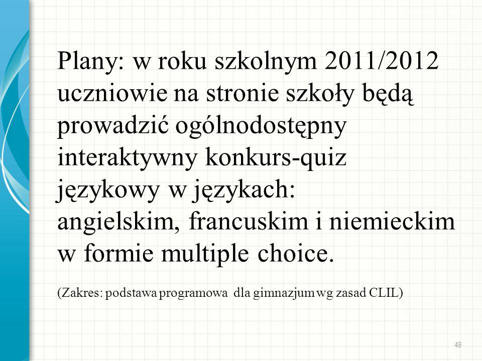 Plany: w roku szkolnym 2011/2012 uczniowie na stronie szkoły będą prowadzić ogólnodostępny interaktywny konkurs-quiz językowy w językach: angielskim, francuskim i niemieckim w formie multiple choice.