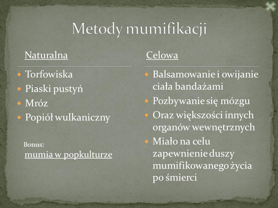 Metody mumifikacji Naturalna Celowa Torfowiska Piaski pustyń Mróz
