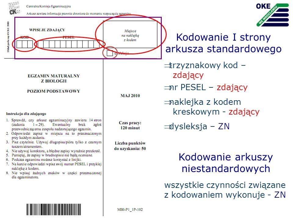Kodowanie I strony arkusza standardowego