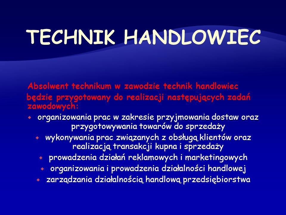 TECHNIK HANDLOWIEC Absolwent technikum w zawodzie technik handlowiec