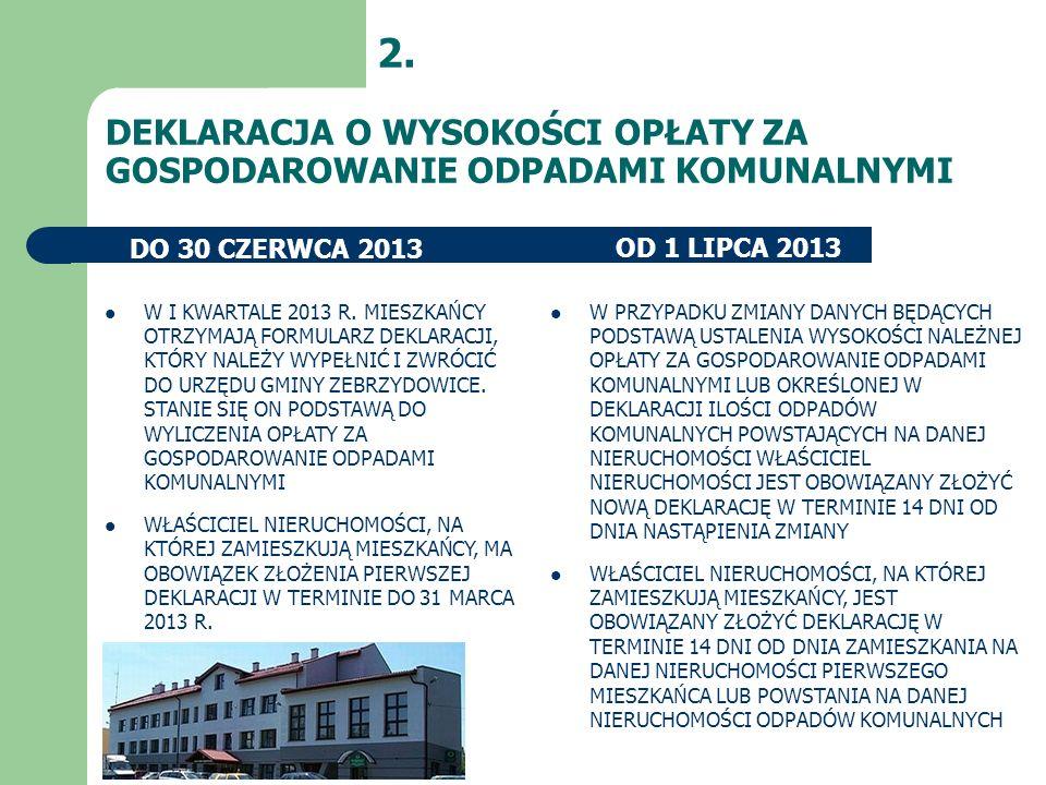 2. DEKLARACJA O WYSOKOŚCI OPŁATY ZA GOSPODAROWANIE ODPADAMI KOMUNALNYMI. DO 30 CZERWCA 2013. OD 1 LIPCA 2013.