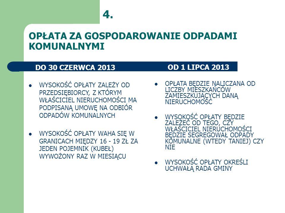 4. OPŁATA ZA GOSPODAROWANIE ODPADAMI KOMUNALNYMI DO 30 CZERWCA 2013