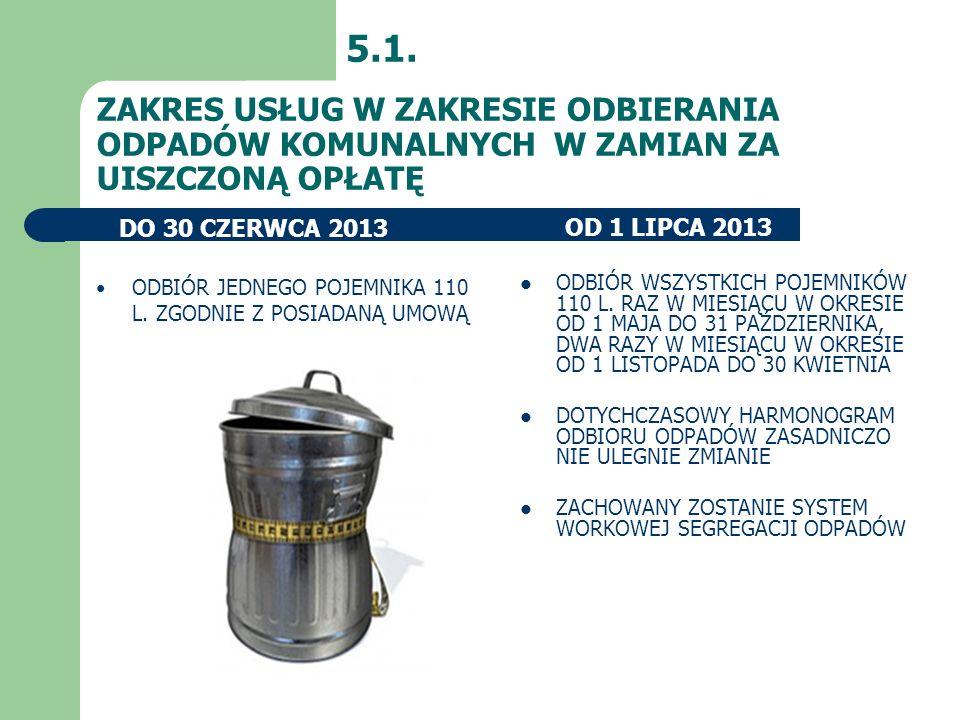 5.1. ZAKRES USŁUG W ZAKRESIE ODBIERANIA ODPADÓW KOMUNALNYCH W ZAMIAN ZA UISZCZONĄ OPŁATĘ. DO 30 CZERWCA 2013.