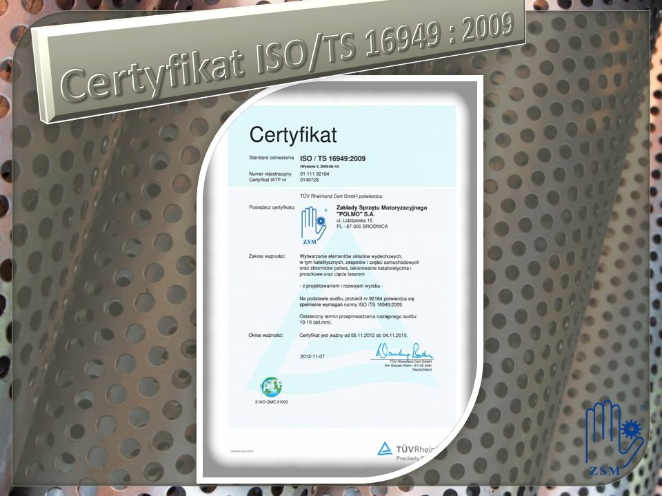 Certyfikat ISO/TS 16949 : 2009