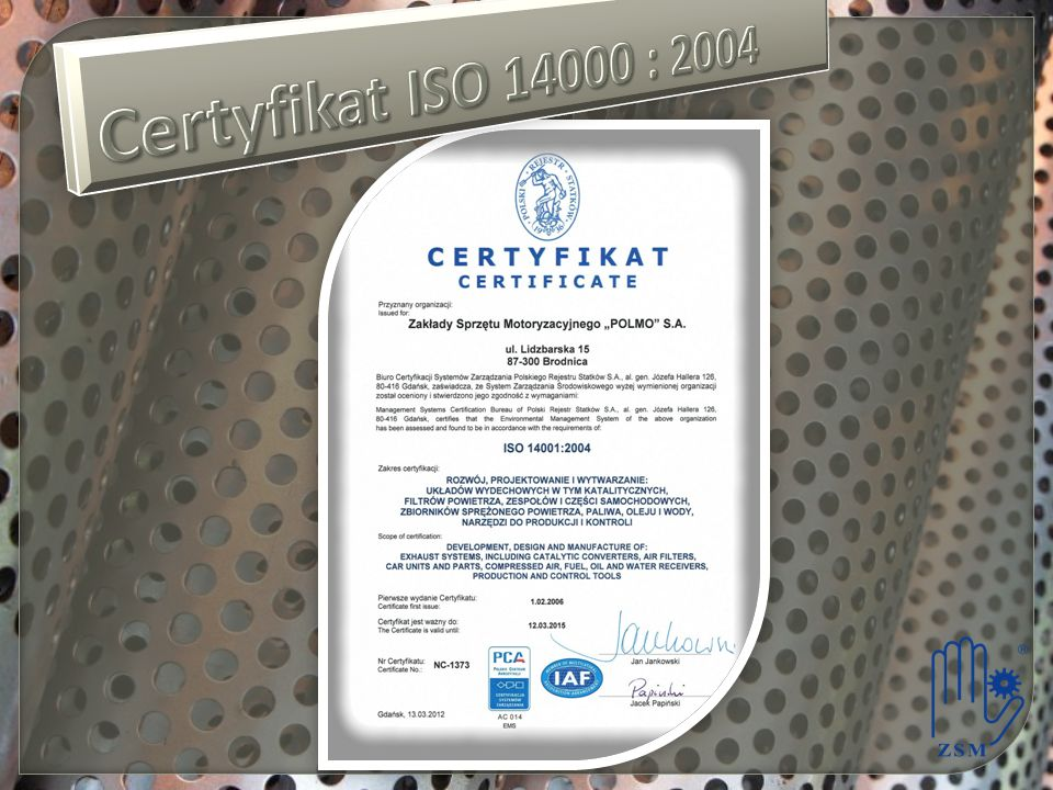 Certyfikat ISO 14000 : 2004