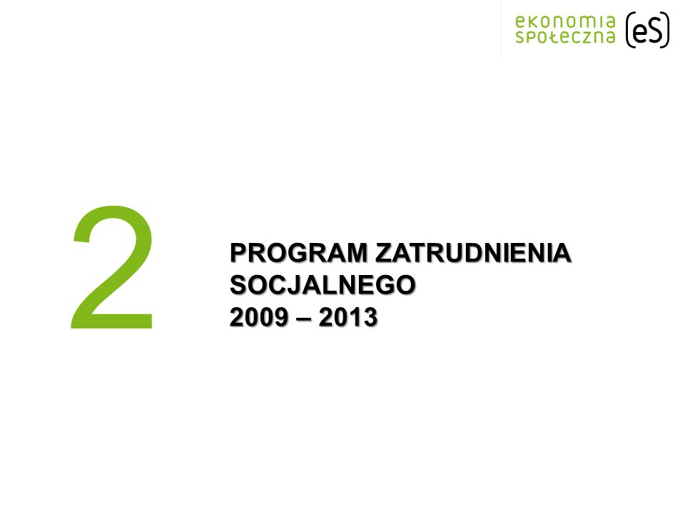 PROGRAM ZATRUDNIENIA SOCJALNEGO 2009 – 2013