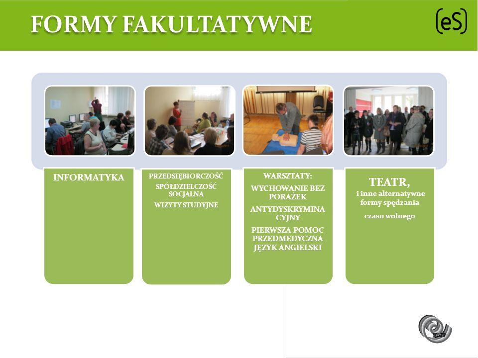 Formy fakultatywne TEATR, INFORMATYKA WARSZTATY: