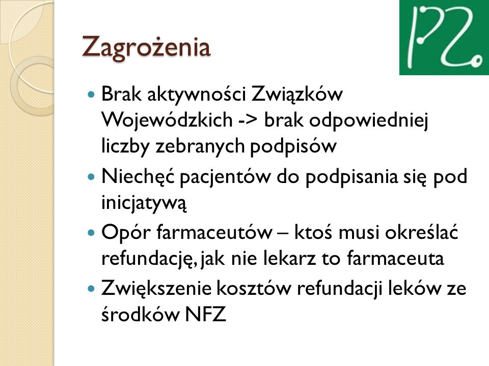 Zagrożenia Brak aktywności Związków Wojewódzkich -> brak odpowiedniej liczby zebranych podpisów.