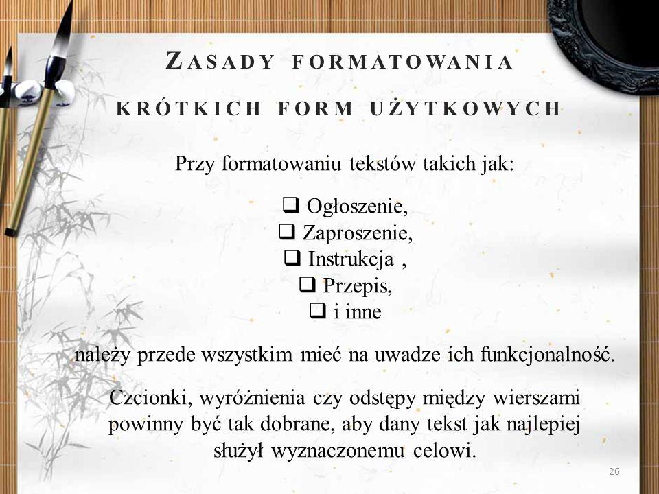 Zasady formatowania krótkich form użytkowych
