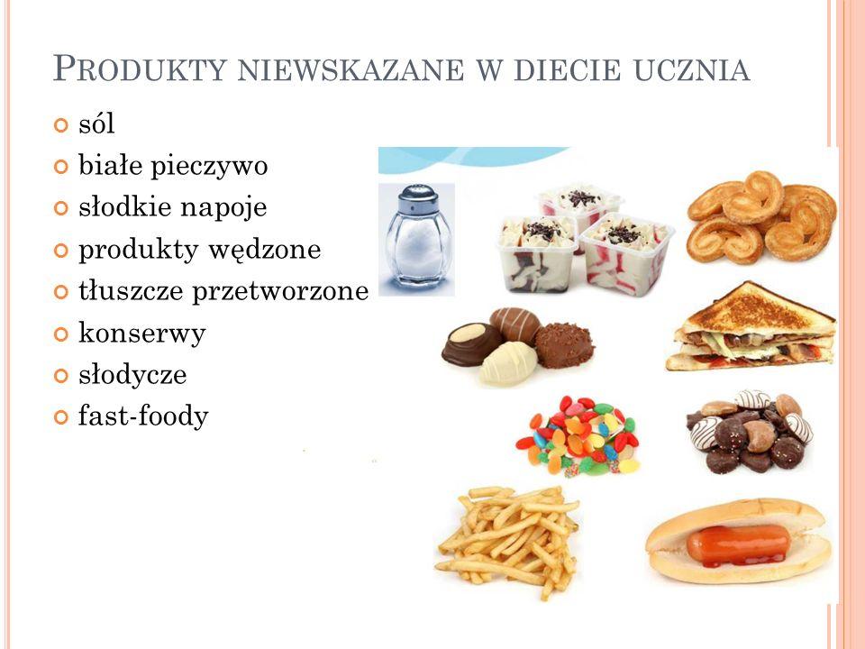 Produkty niewskazane w diecie ucznia