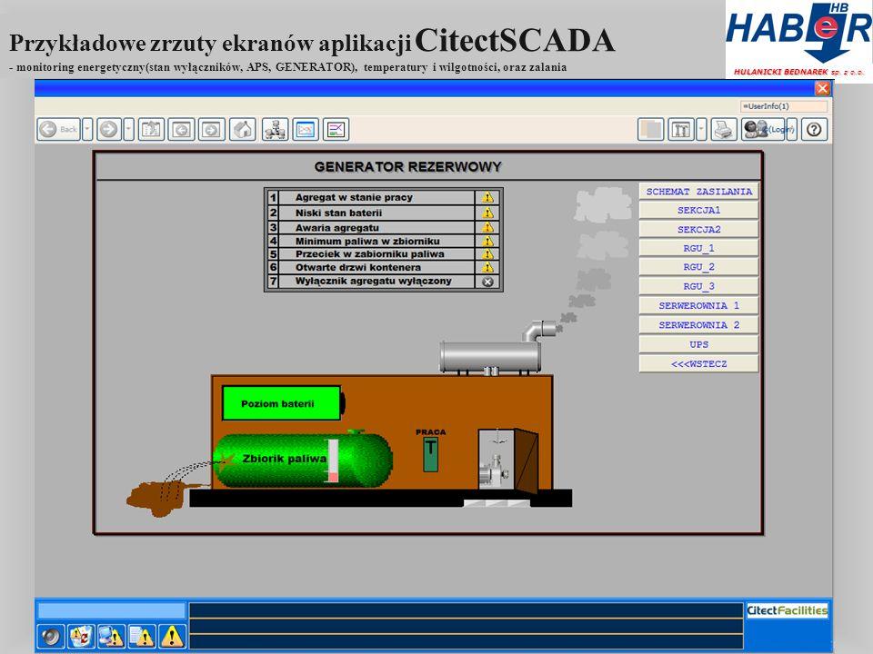 Przykładowe zrzuty ekranów aplikacji CitectSCADA