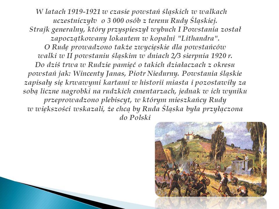 W latach 1919-1921 w czasie powstań śląskich w walkach uczestniczyłv o 3 000 osób z terenu Rudy Śląskiej.
