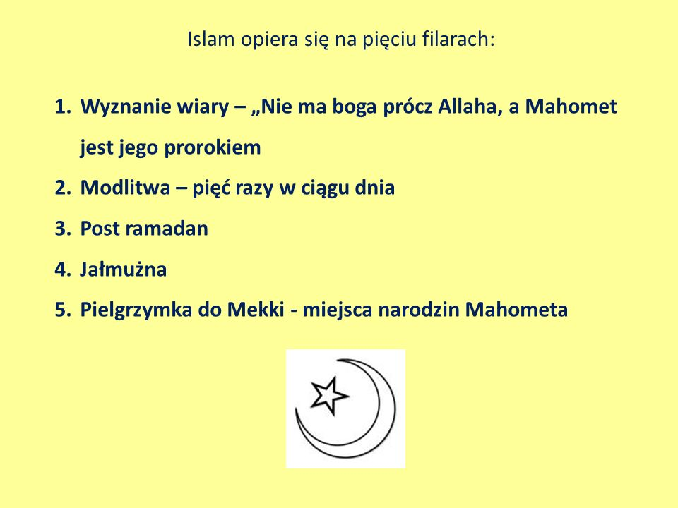 Islam opiera się na pięciu filarach: