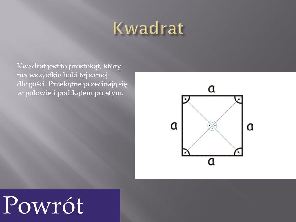 Kwadrat Kwadrat jest to prostokąt, który ma wszystkie boki tej samej długości. Przekątne przecinają się w połowie i pod kątem prostym.