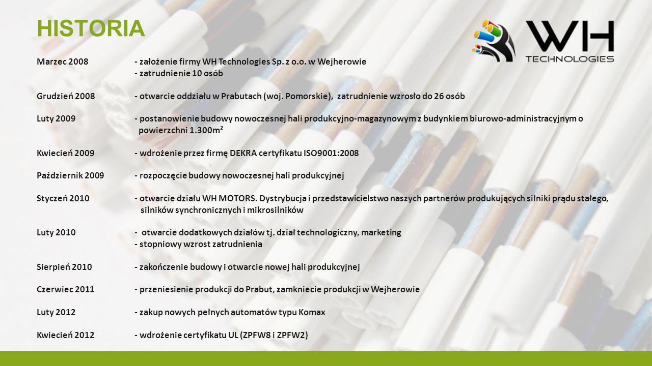HISTORIA Marzec 2008 - założenie firmy WH Technologies Sp. z o.o. w Wejherowie. - zatrudnienie 10 osób.