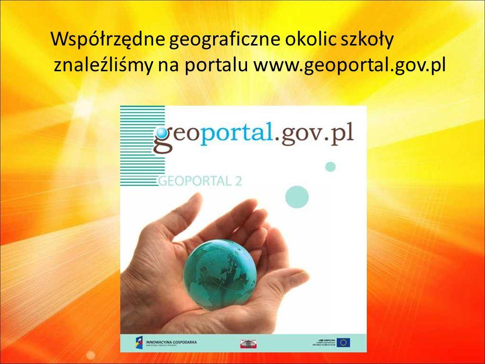 Współrzędne geograficzne okolic szkoły znaleźliśmy na portalu www