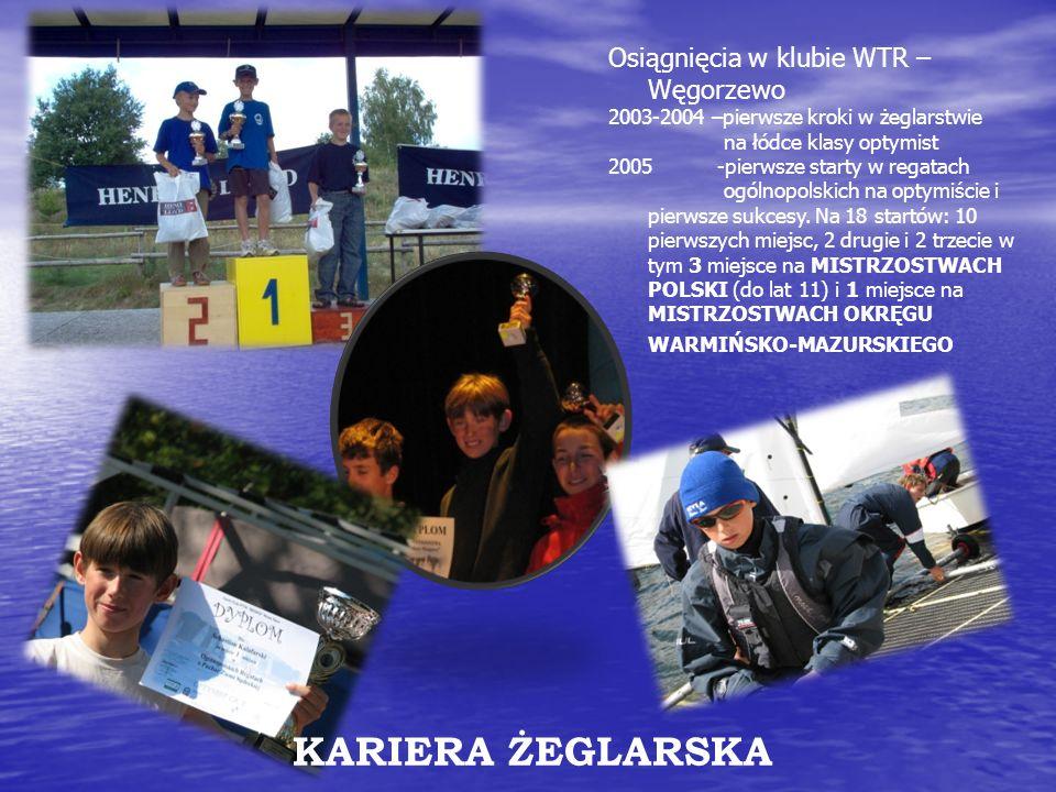 KARIERA ŻEGLARSKA Osiągnięcia w klubie WTR – Węgorzewo