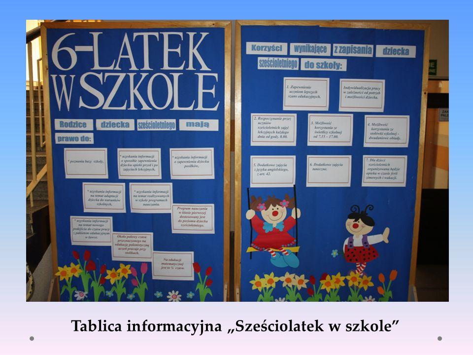 """Tablica informacyjna """"Sześciolatek w szkole"""