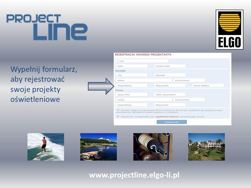 Wypełnij formularz, aby rejestrować swoje projekty oświetleniowe