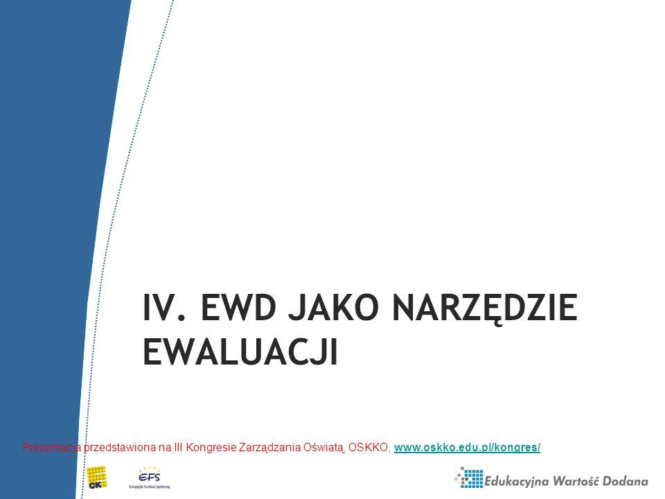 IV. EWD jako narzędzie Ewaluacji