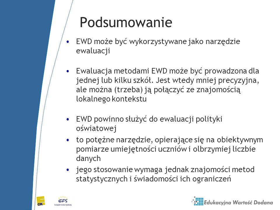 Podsumowanie EWD może być wykorzystywane jako narzędzie ewaluacji
