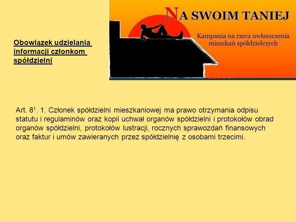 Obowiązek udzielania informacji członkom. spółdzielni.