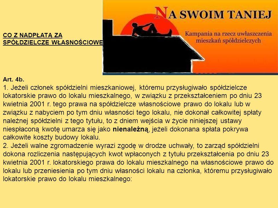 CO Z NADPŁATĄ ZA SPÓŁDZIELCZE WŁASNOŚCIOWE. Art. 4b.