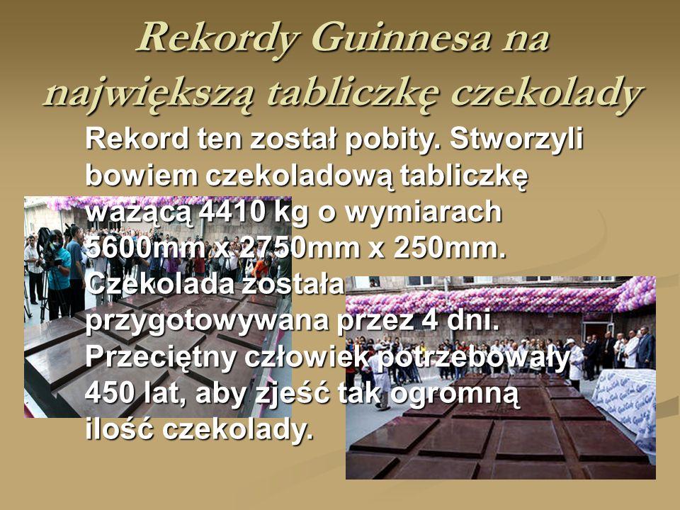 Rekordy Guinnesa na największą tabliczkę czekolady