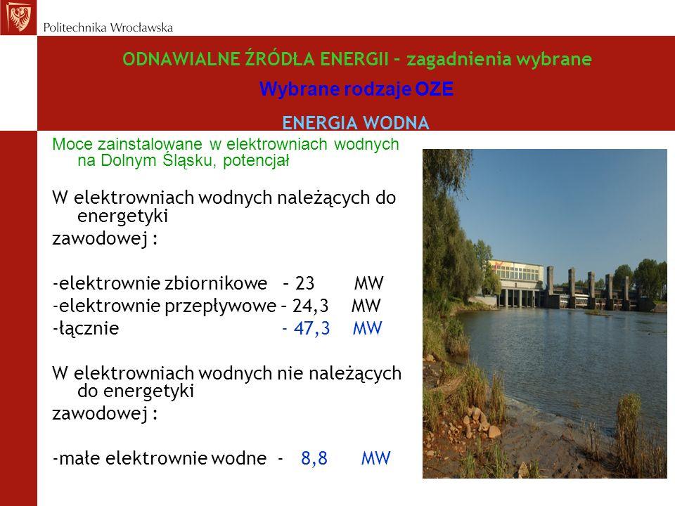 W elektrowniach wodnych należących do energetyki zawodowej :
