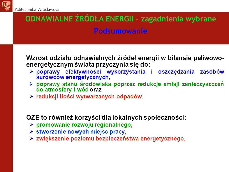 ODNAWIALNE ŹRÓDŁA ENERGII – zagadnienia wybrane Podsumowanie