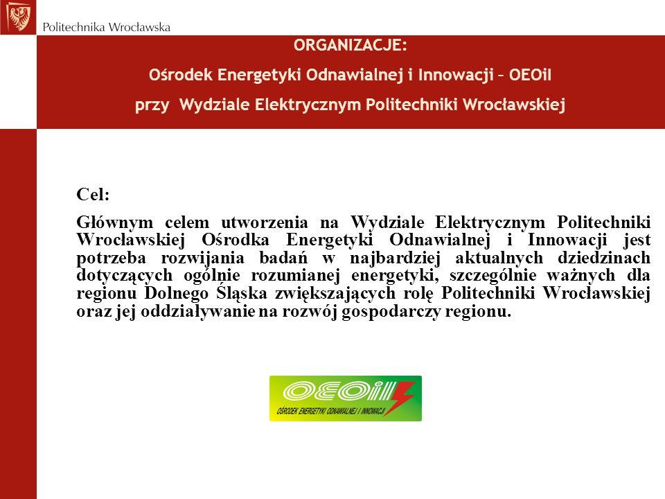 ORGANIZACJE: Ośrodek Energetyki Odnawialnej i Innowacji – OEOiI przy Wydziale Elektrycznym Politechniki Wrocławskiej