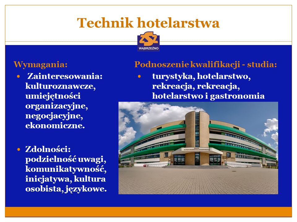 Technik hotelarstwa Wymagania: