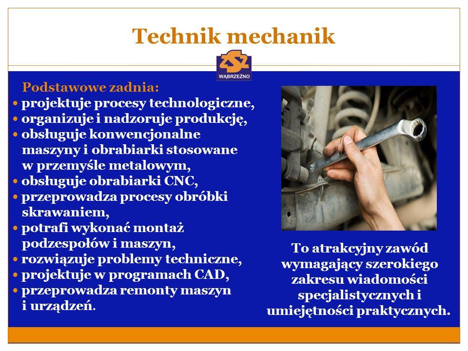 Technik mechanik Podstawowe zadnia: projektuje procesy technologiczne,