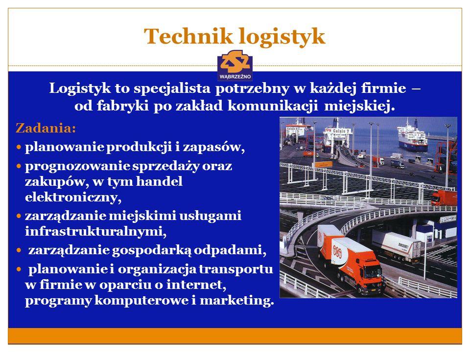 Technik logistyk Logistyk to specjalista potrzebny w każdej firmie – od fabryki po zakład komunikacji miejskiej.
