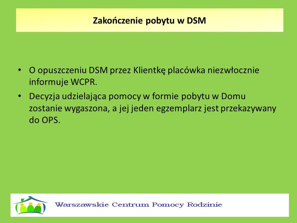Zakończenie pobytu w DSM