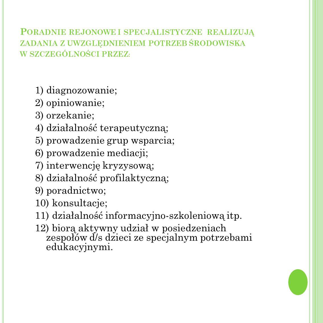Poradnie rejonowe i specjalistyczne realizują zadania z uwzględnieniem potrzeb środowiska w szczególności przez: