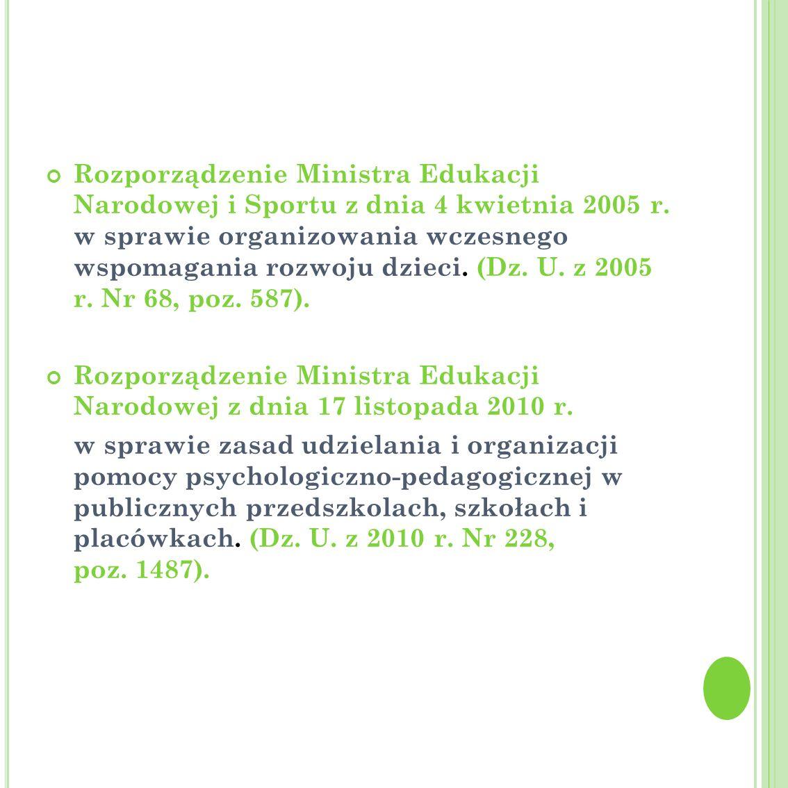 Rozporządzenie Ministra Edukacji Narodowej i Sportu z dnia 4 kwietnia 2005 r. w sprawie organizowania wczesnego wspomagania rozwoju dzieci. (Dz. U. z 2005 r. Nr 68, poz. 587).