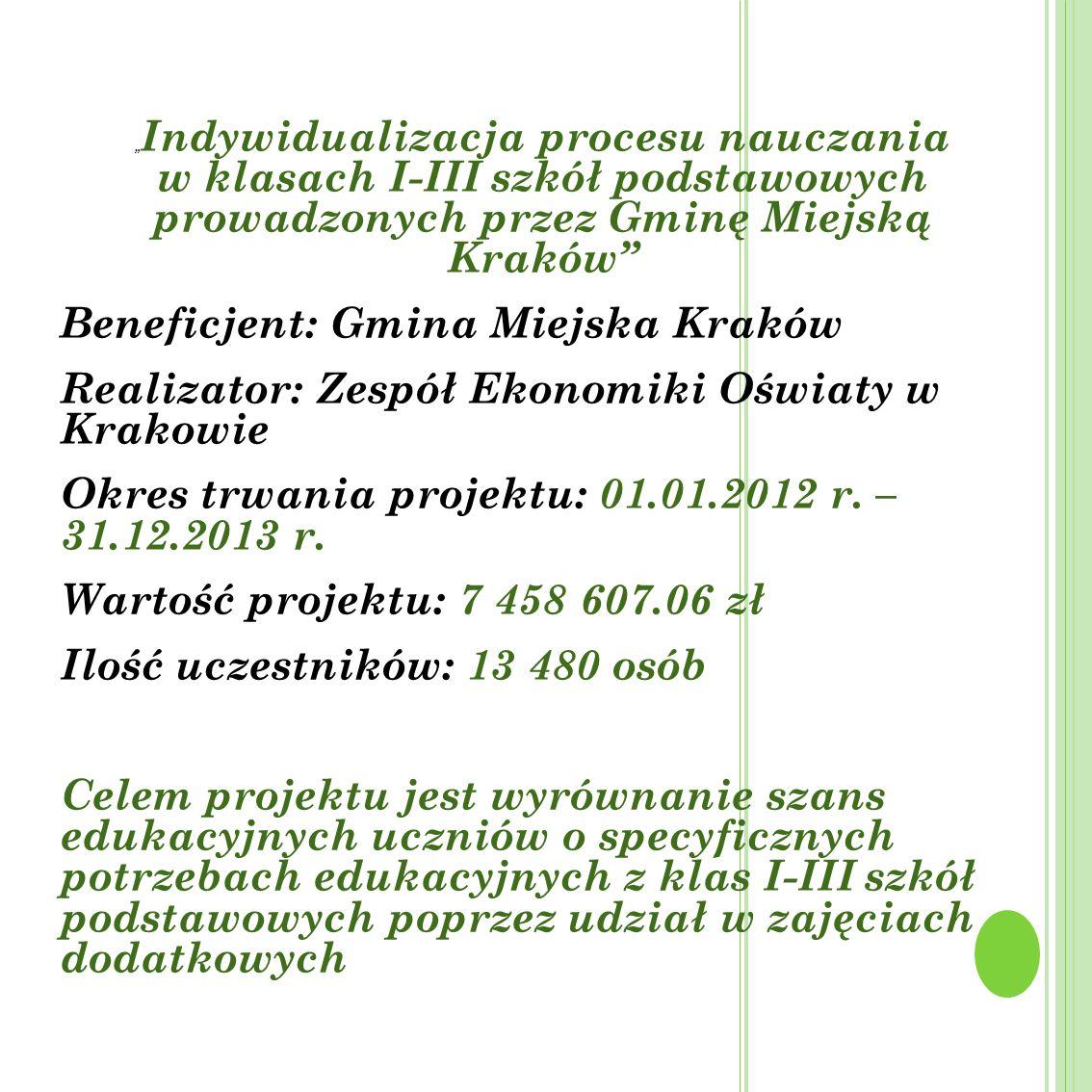 Beneficjent: Gmina Miejska Kraków