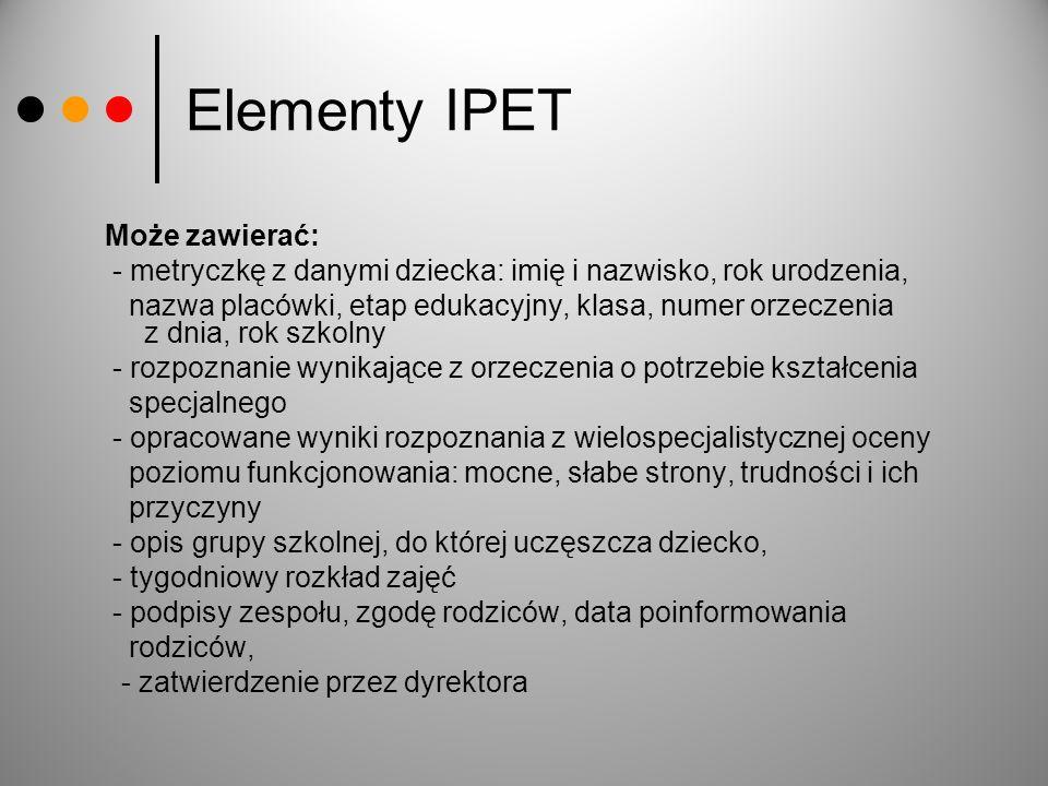 Elementy IPET Może zawierać: