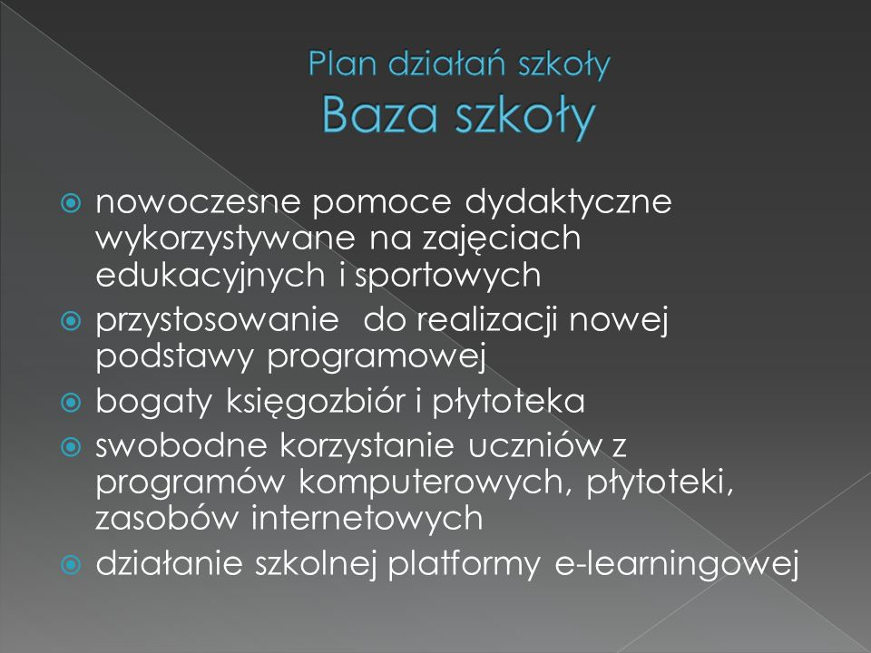 Plan działań szkoły Baza szkoły