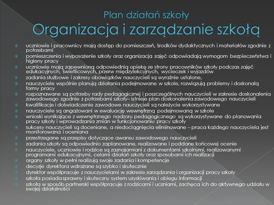 Plan działań szkoły Organizacja i zarządzanie szkołą